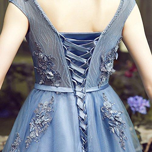 Dentelle Train Élégante Fleurs Robe Robe De Ciel Le Bleue Banquet Robe Longue Goddess Soirée Scoop De De 14 Sun 12 Sweep Partie Mariée Bleu Robe Bal ZqFIYF