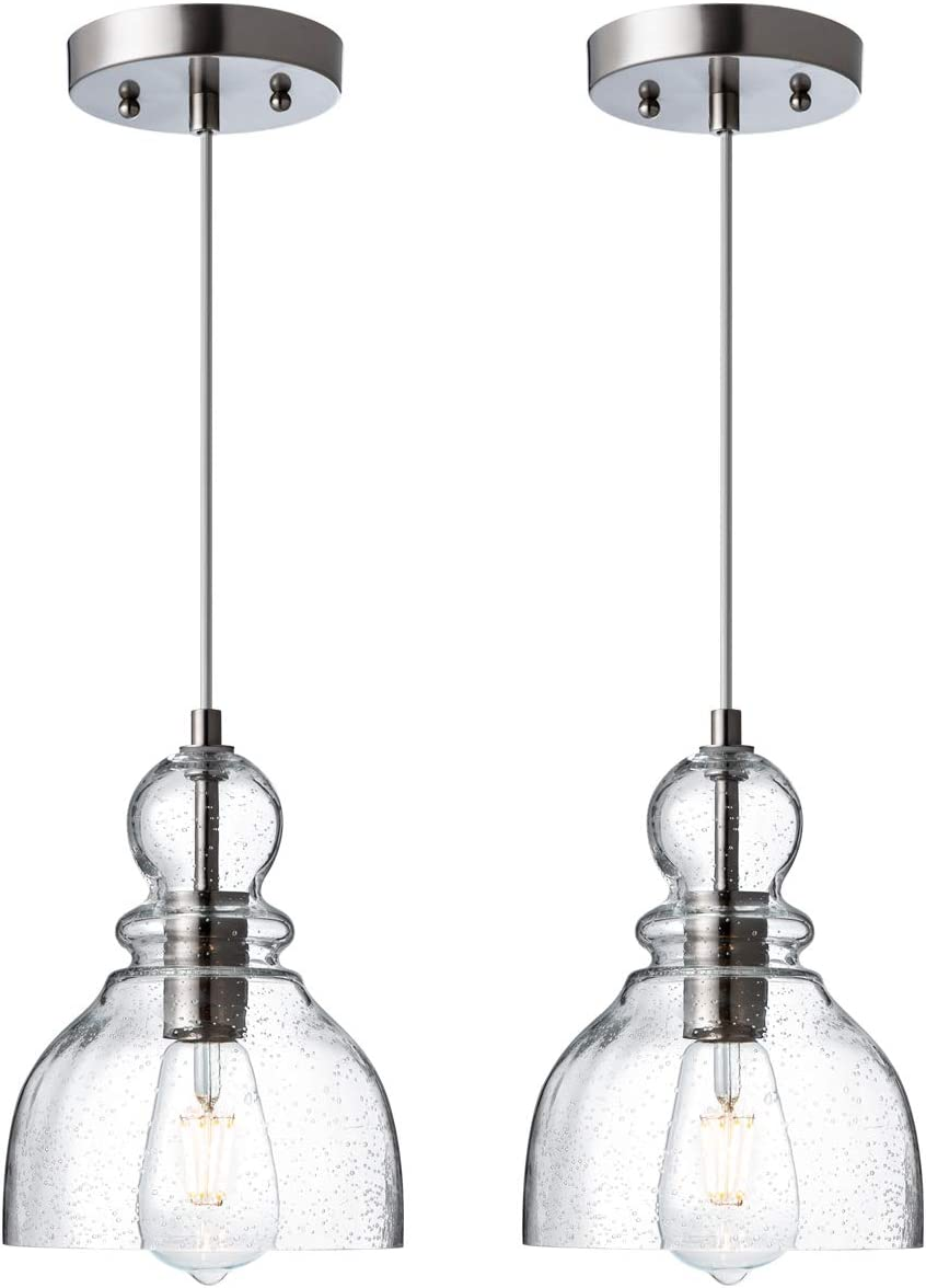 Industrial Mini Pendant Lights with Handblown Clear Seeded Glass Shade, Adjustable Bell Pendant Lighting for Kitchen Sink, Kitchen Island, Dining Room, Bars and Shops, 2-Pack