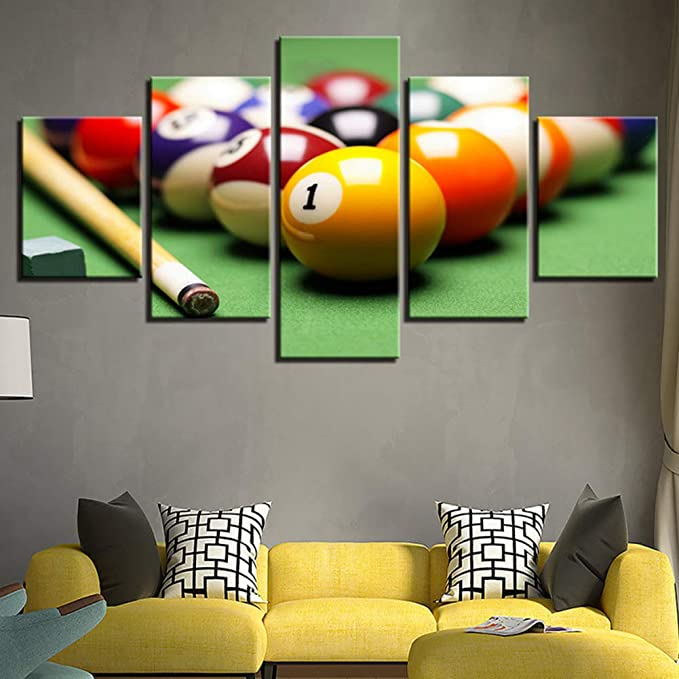 QJXX Decoración de Pared Billar Imágenes 5 Piezas Impresiones Cuadros en Lienzo Mural Snooker Disparo Pintura Sala de niños Club Temática Deportiva Ilustraciones,A,40cm*60x2+40x80x2+40x100x1: Amazon.es: Hogar