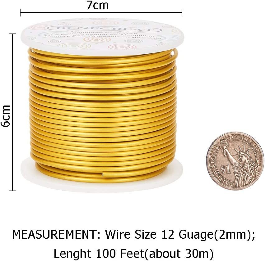 BENECREAT 12 Gauge Matte Jewelry Craft Wire 100 Feet Tarnish Resistant Aluminum Wire for Beading Sculpting Model Skeleton Making Black, 2mm
