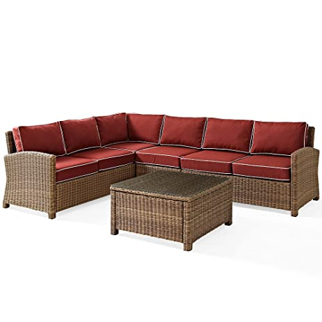 Crosley Furniture Bradenton 5 Piece Outdoor Wicker Seating Set With  Cushions   Sangria