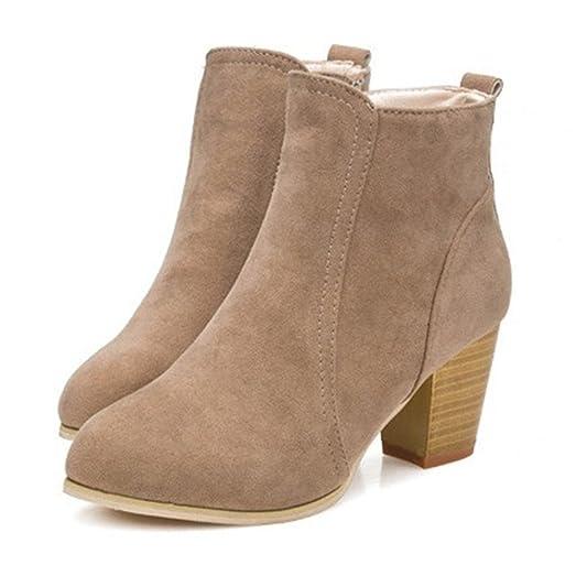 Fashion Womens Square Heel Booties Ladies Dress Short Walking Zipper Ankle Boots
