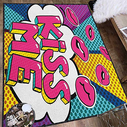 Kiss Traditional Bright Area Rug,Kiss Me Word Bubble in Pop Art Style Retro Colorful Dotted Backdrop with Pink Lips Carpet for Children Home Decorate Multicolor 71