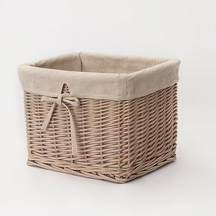 Wkkie Mimbre Rota Ropa sucia cesto Gran capacidad Almacenamiento de ropa Cesta Cesta de ropa Con