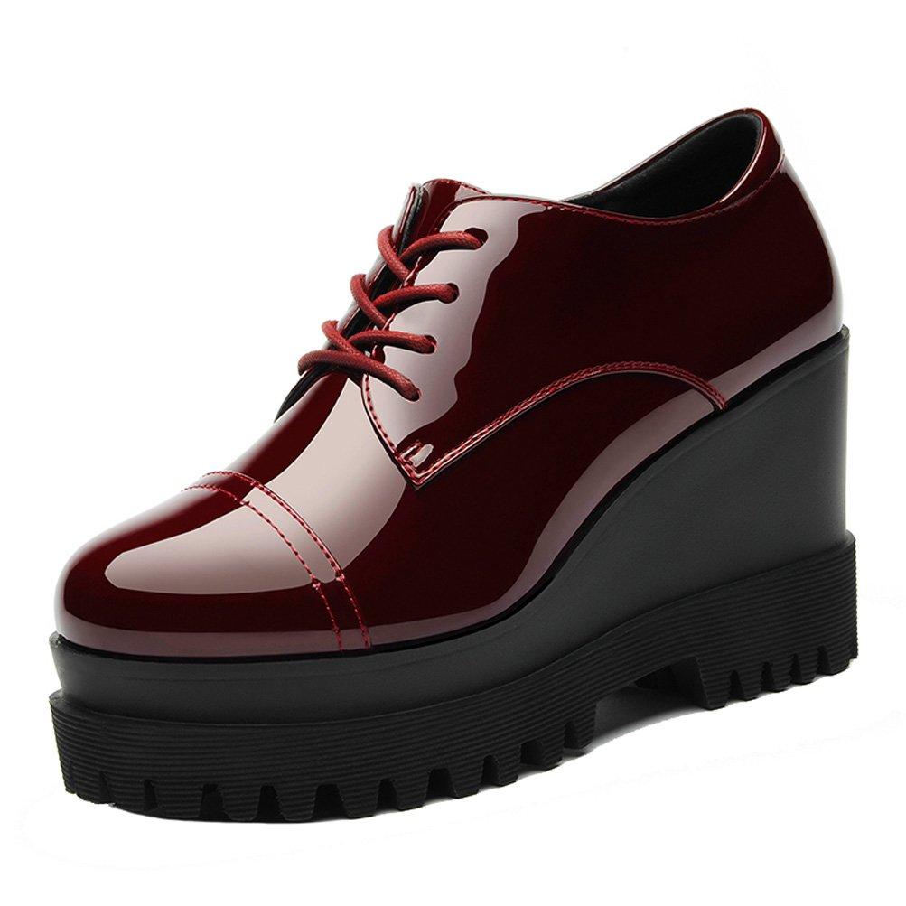 LAIKAJINDUN Women's Lace Up Patent Leather Platform Wedges Work Shoes Red 8M US