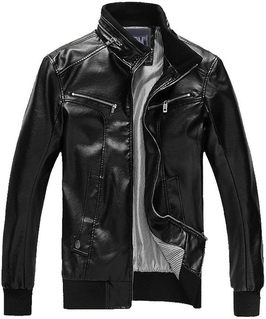 YangguTown YGT Mens Slim Fit PU Motor Stand-Collar Zipper Coat Jacket