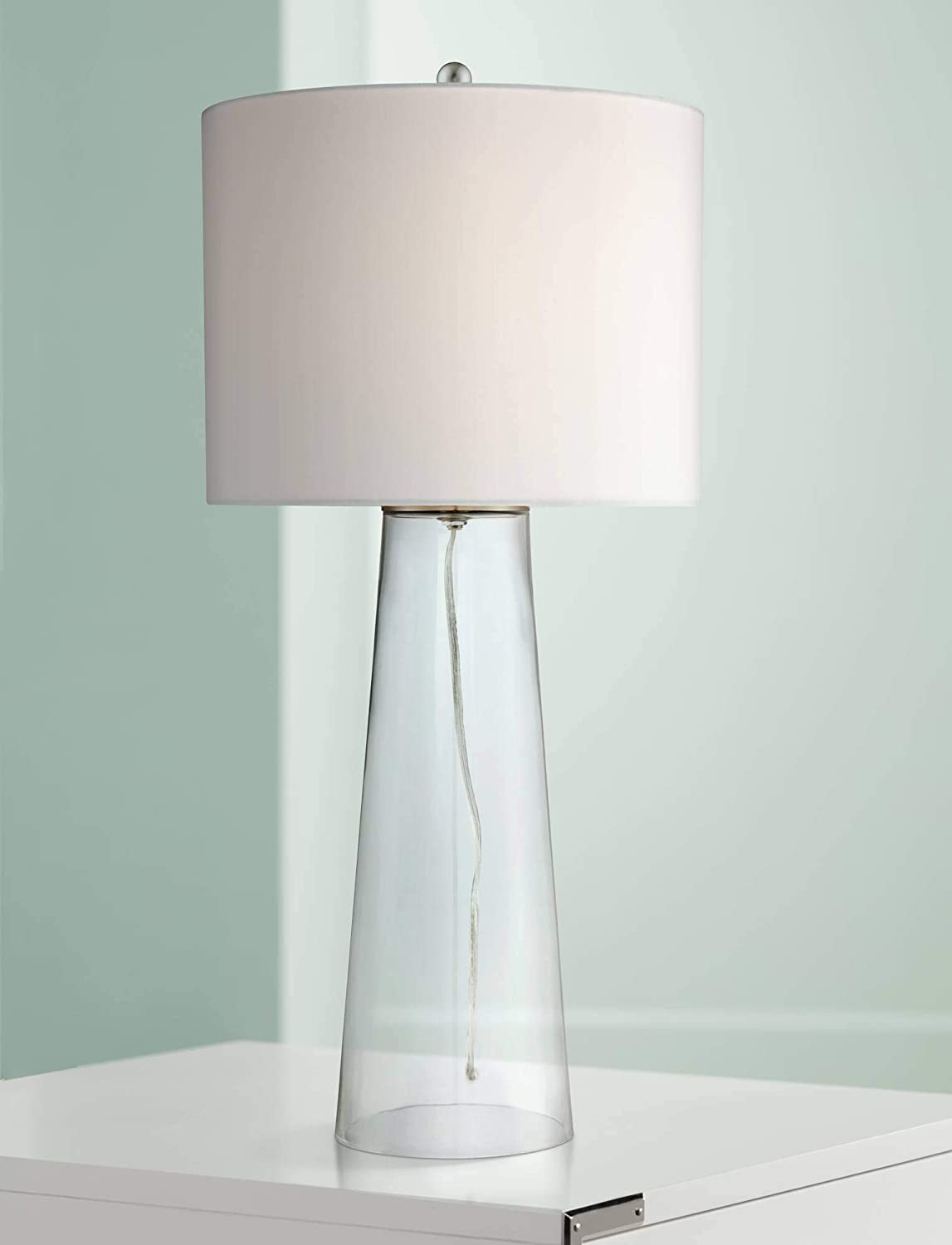 Marcus Coastal Table Lamp Clear Glass Tapered Column White Drum Shade for Living Room Family Bedroom Bedside Nightstand - 360 Lighting