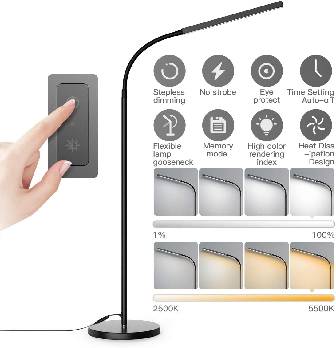 Floor Lamp, dodocool Touch Control Programmable Timer Floor Lamp for Living Room and 4 Color Temperatures Standing Lamp with Stepless Dimmer,2500K-6000K LED Reading Lamp for Bedroom,Home,Office