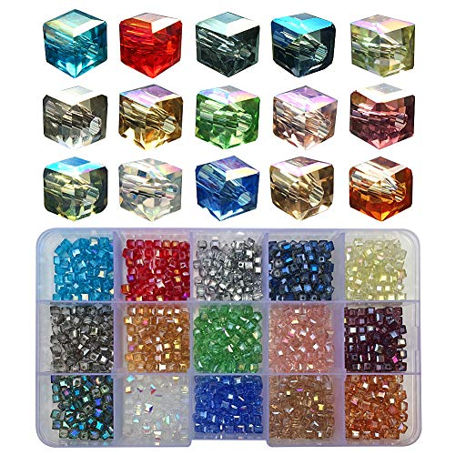 Chengmu 4mm Cube Glass Beads for Jewelry Making 750pcs AB Colour Faceted Shape Colourful Crystal Spacer Beads Assortments Supplies for Bracelet Necklace with Cord
