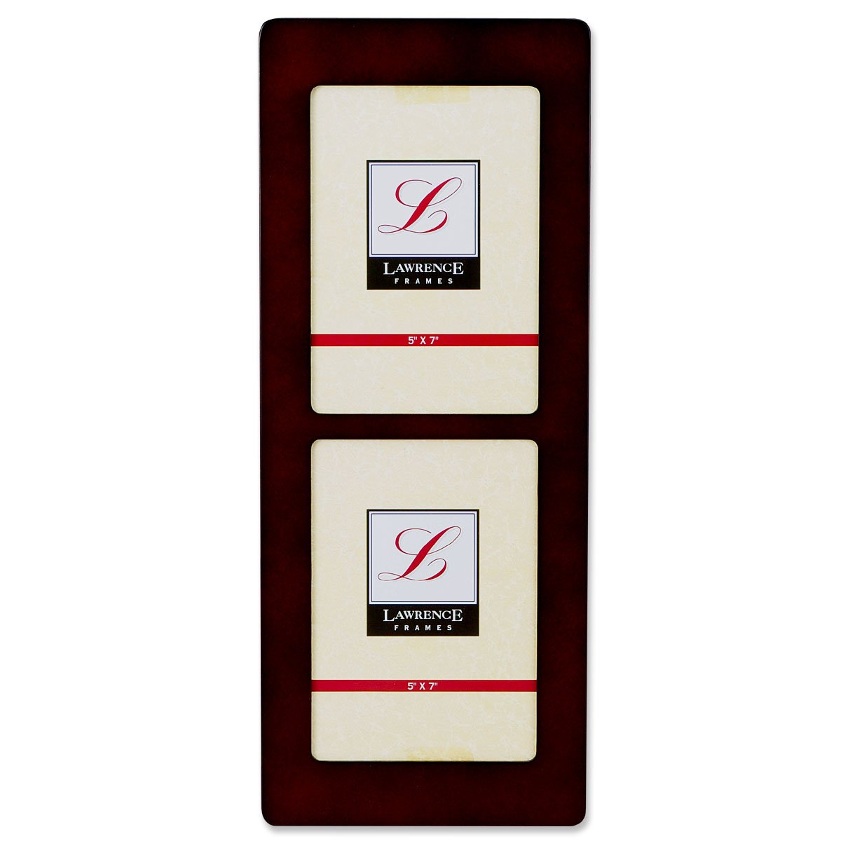 Lawrence Frames Walnut Wood 5x7 Multi Double Vertical Picture Frame 834157D
