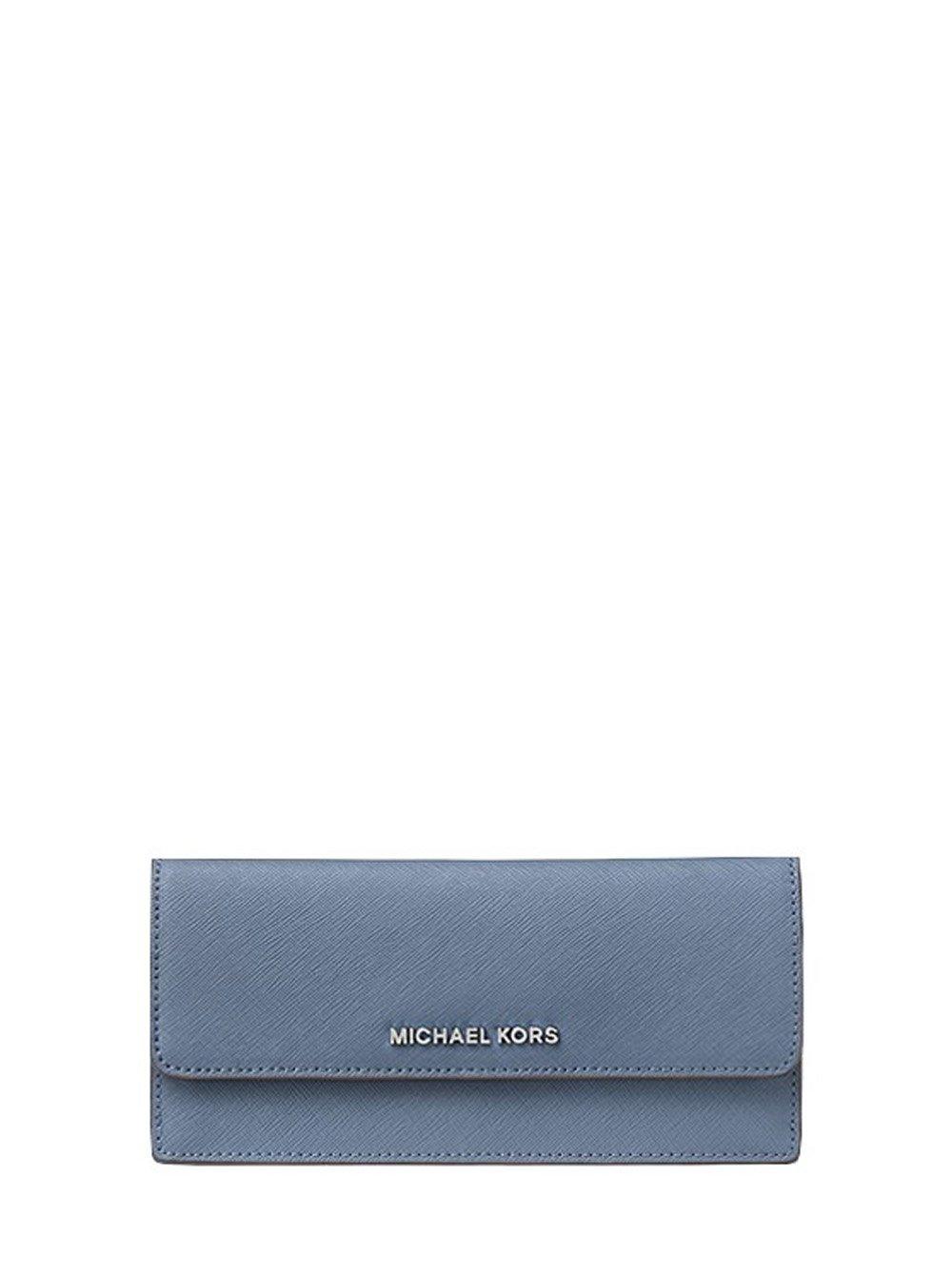Michael Kors Jet Set Travel Flat Wallet in Saffiano Leather (Denim) by Michael Kors