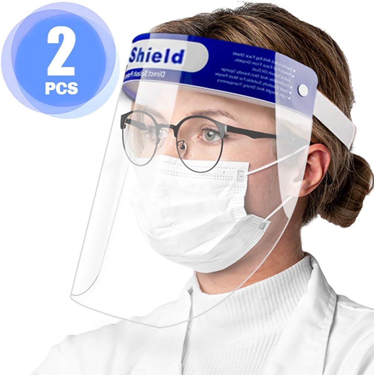 Pantalla Facial Protectora, 2 Viseras Protectoras Transparentes Ajustables de rostro Completo con Protección para ojos y cabeza, Cubierta Facial Antisalpicaduras para mujeres / hombres