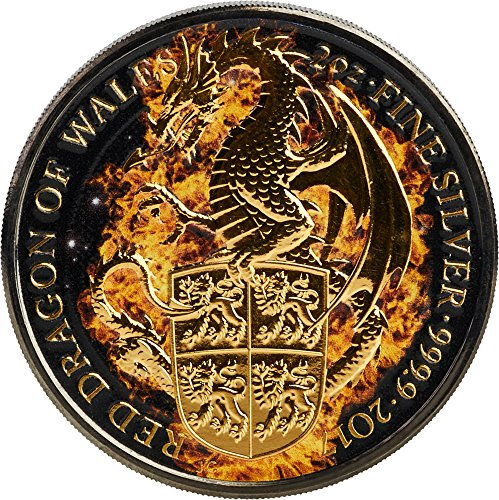 (2017 GB Queen Beasts Burning PowerCoin BURNING DRAGON Queen Beasts 2 Oz Silver Coin 5£ United Kingdom 2017 BU Brilliant Uncirculated)
