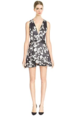 2dcf1bf08b1 Image Unavailable. Image not available for. Color  Alice   Olivia Tanner  Floral Print Layered Ruffle Fit   Flare Cocktail Dress