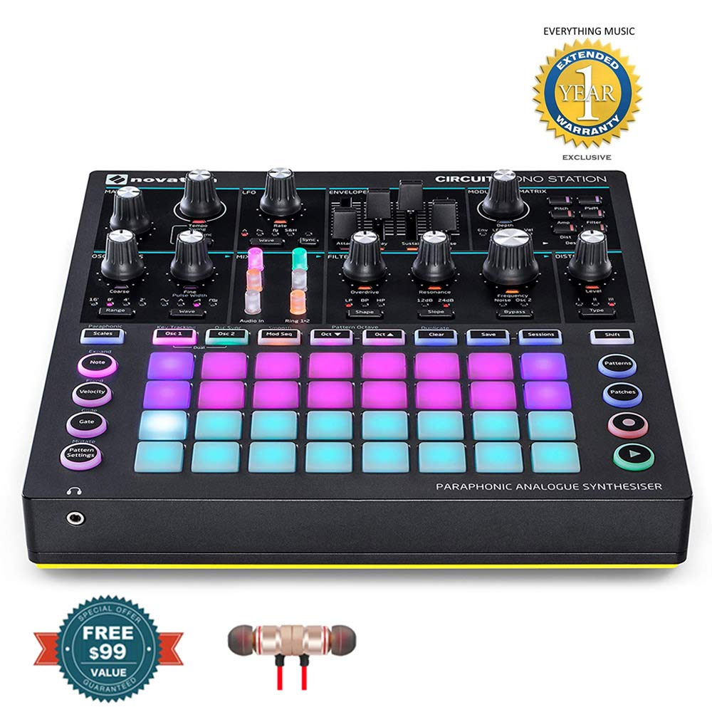 Novation Circuit Mono Station Paraphonic Analog Synthesizer includes Free Wireless Earbuds - Stereo Bluetooth In-ear and 1 Year Everything Music Extended Warranty