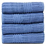 BC BARE COTTON Luxury Hotel & Spa Towel 100% Natural Turkish Cotton Ribbed Channel Pattern Bath (Set of 4), Wedgewood