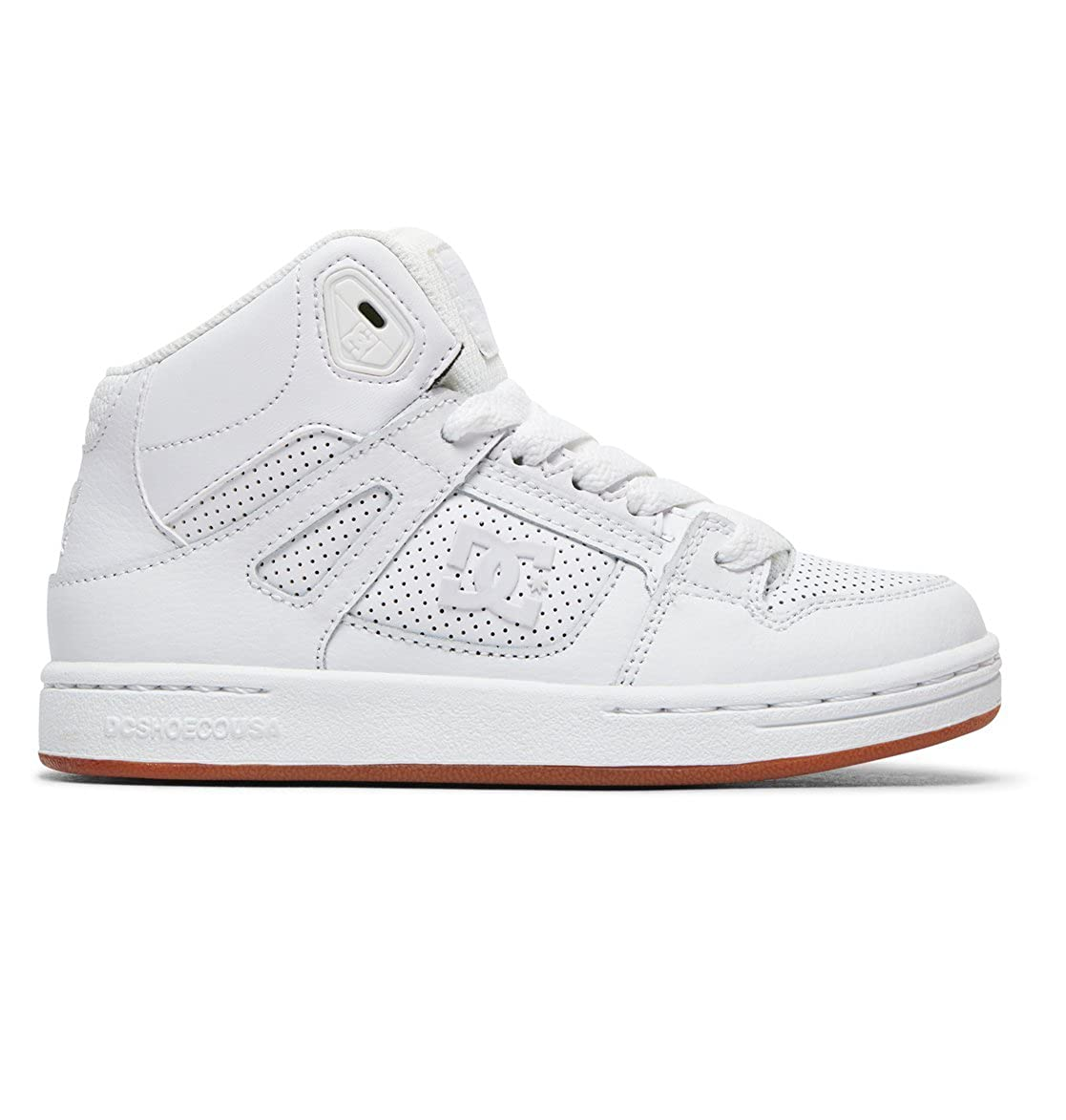 DC Shoes Youth Pure High-Top White Leather Trainers 39 EU ADBS100242-HWG