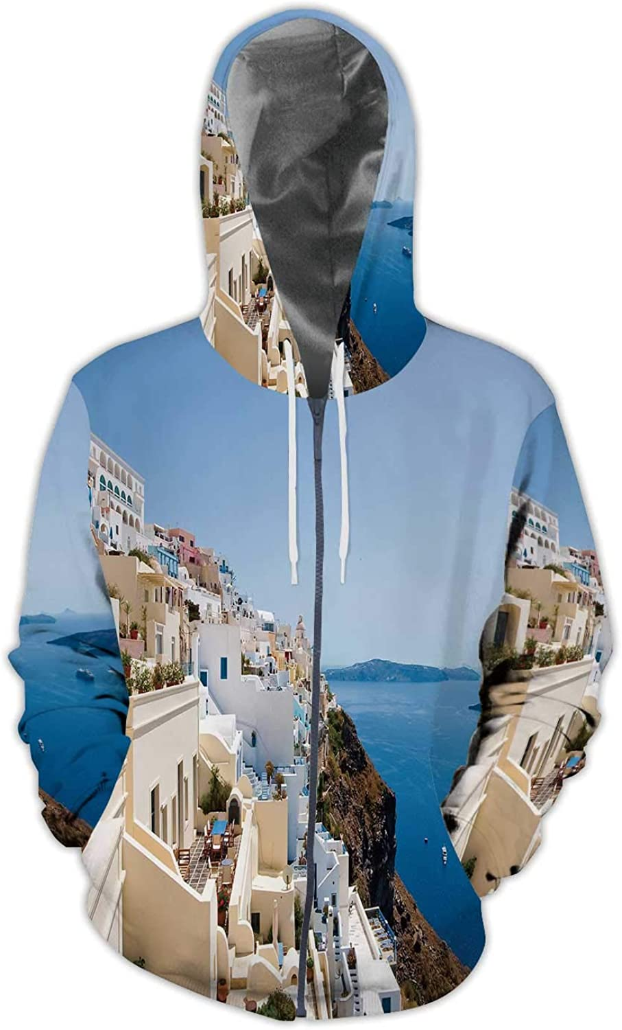 Outline City Skyscrapers in Blue Color.- Illustration Colorful - Illinois,Ladies Full Zip Fleece with Pocket Japan S