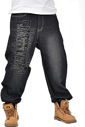Vaqueros Hombre Tallas Grandes Shorts Vaqueros Denim Baggy Directamente Hip Hop Estilo Moderno Pantalones Vaqueros Pantalones Anchos Carta Impresion Amazon Es Ropa Y Accesorios