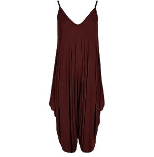 8fbbcbdc700f New Ladies Cami Lagenlook Romper Loose Harem Jumpsuit Playsuit Dress Plus  Size