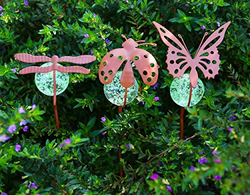 Artisan Crafts and Design Glow in The Dark Butterfly Dragonfly Ladybug Pot Stake Assortment Indoor & Outdoor Garden Decor ()