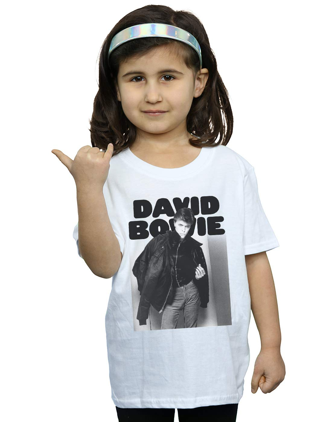 Absolute Cult David Bowie Girls Jacket Photograph T-Shirt White 7-8 Years by Absolute Cult