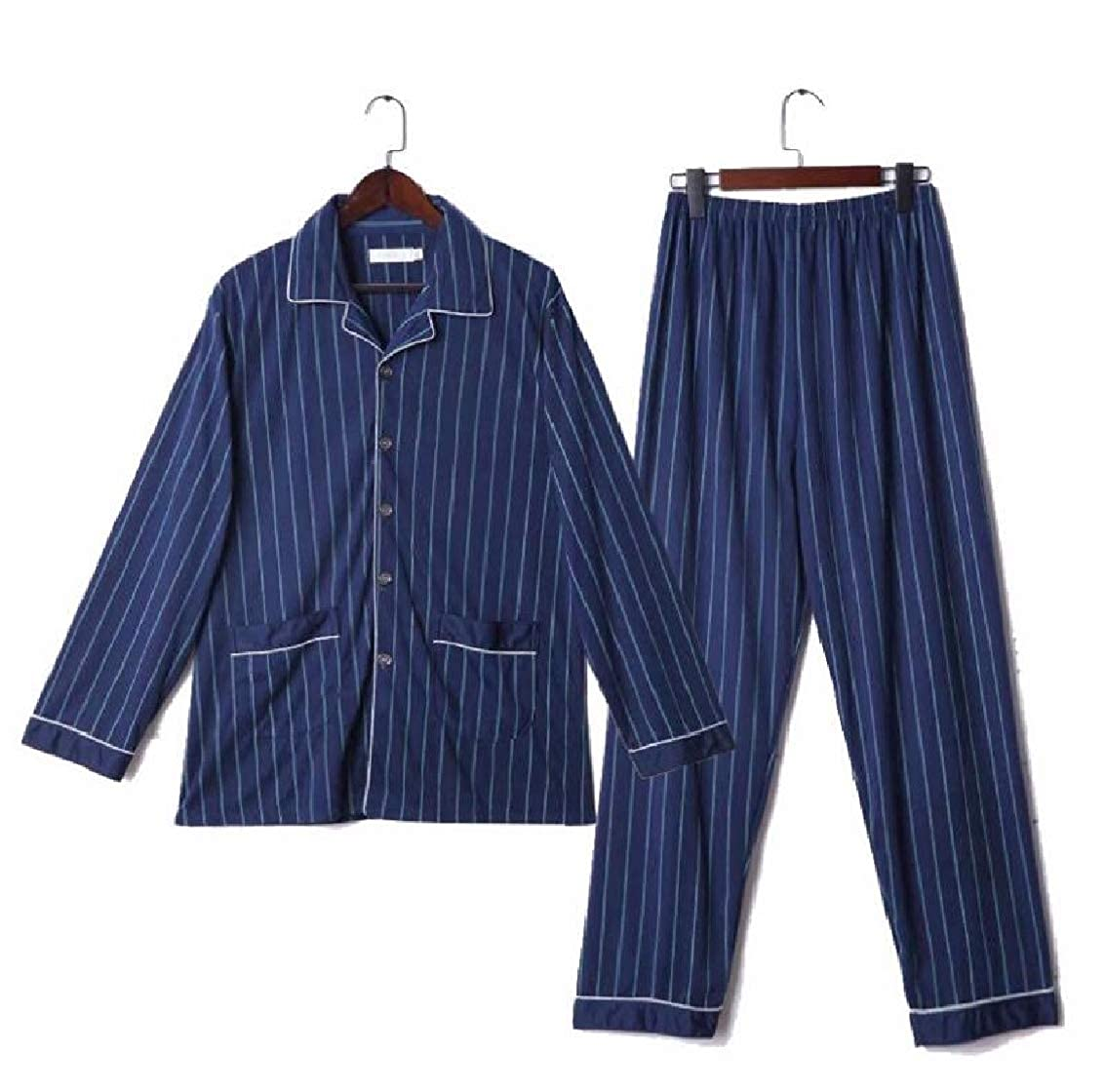 Jaycargogo Mens Homwear Pajamas Lightweight Striped Long Sleeve 2 Piece Set