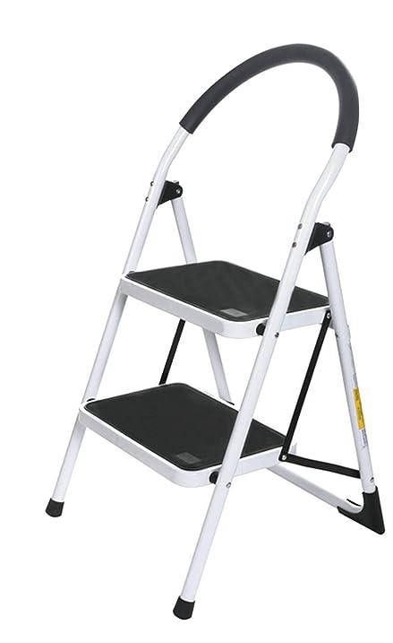 DEALKOO Upper Reach Reinforced Metal Folding 2 Step Ladder Household Kitchen  Stool