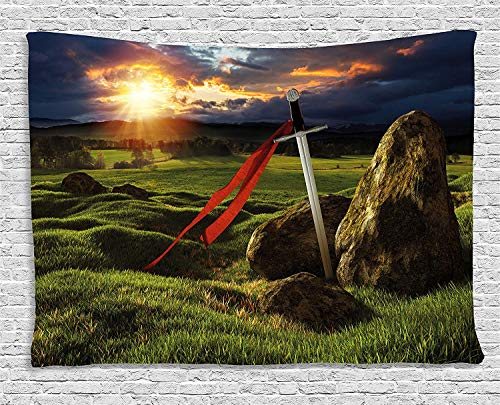 CHARMHOME King Tapestry, Arthur Camelot Legend Myth in England Ireland Fields Invincible Myth Image Wall Hanging Tapestry for Bedroom Living Room Dorm Decor, 60x80 Inches
