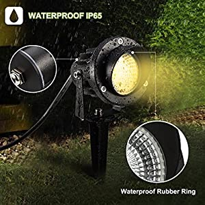 ProGreen Outdoor LED Landscape Lights,10W LED Decorative Spotlight Lamp With Ground Spike, 3000k Warm White LED Wall lights, Waterproof IP65 LED Garden lighting, LED Yard Step Wall floor lights