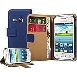Membrane - Bleu Portefeuille Étui Coque Samsung Galaxy Young (GT-S6310 / S6312 Duos / Dual / S6310L / S6310N) - Flip Case Cover Housse + 2 Films de protection d'écran