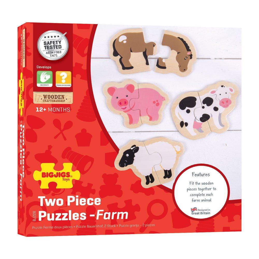 Bigjigs Toys Two Piece Puzzles-Farm Animals