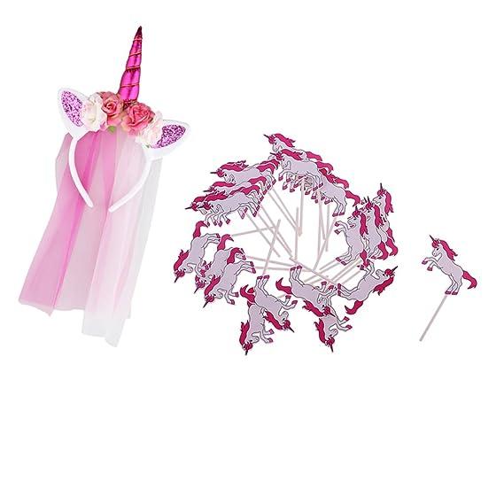 MagiDeal 1x Diadema Unicornio 24x Topper de Pastel Niños Disfraces Cosplay Cumpleaños de Niñas Disfraz - Multicolor, única: Amazon.es: Ropa y accesorios