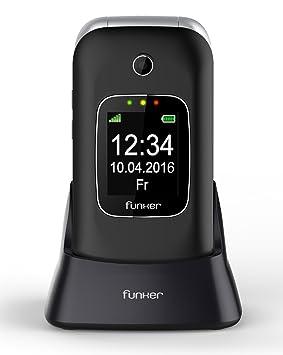 Funker C85 Easy Comfort - Teléfono móvil, con Tapa para Personas Mayores, con botón SOS y Base C, Negro