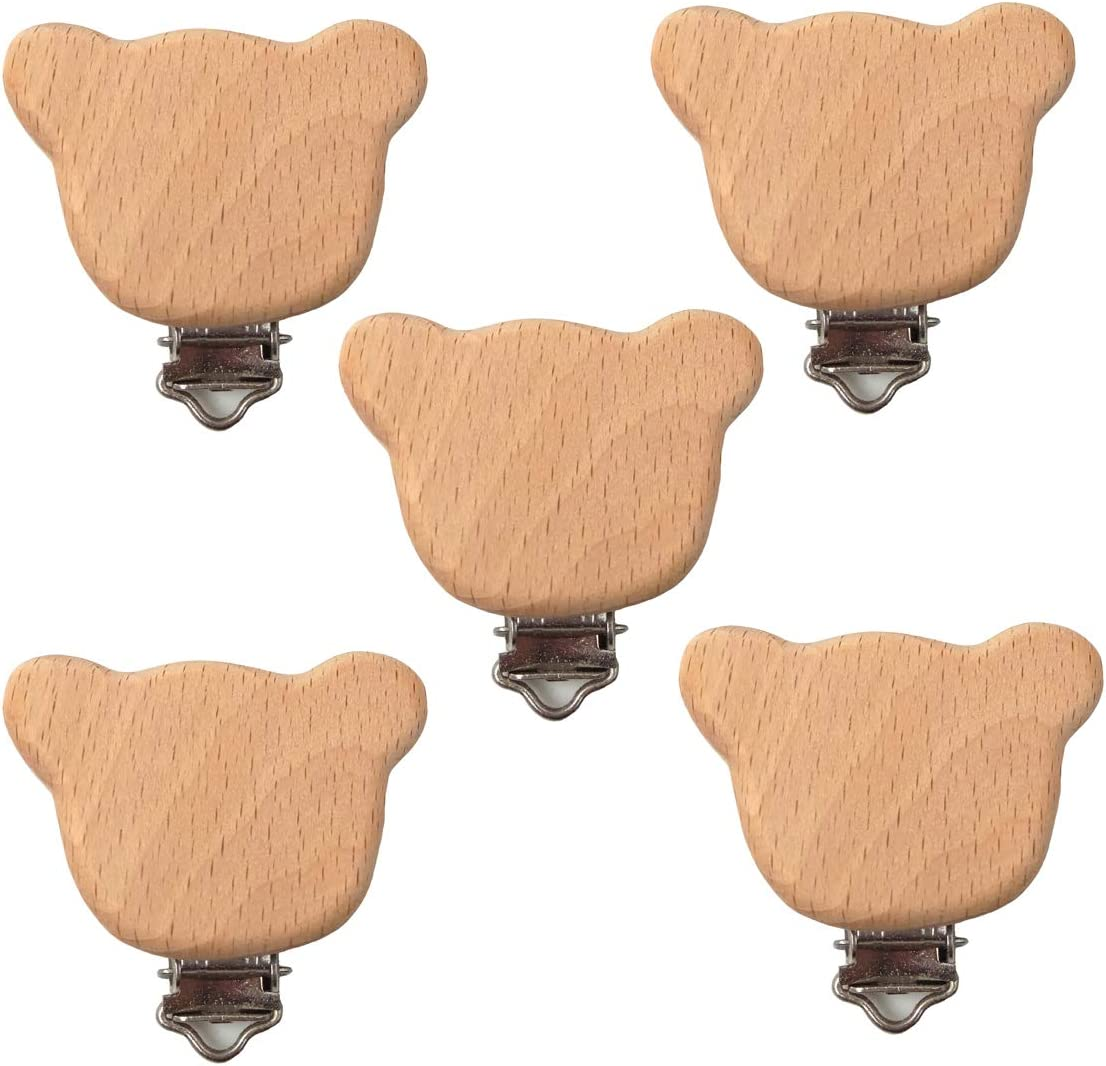 Alenybeby Beech Wood Pacifier Clip Small Cute Shape Elephant Star Heart-Shaped Bird Baby Teether DIY Preferred Nipple Chain Accessories Flower