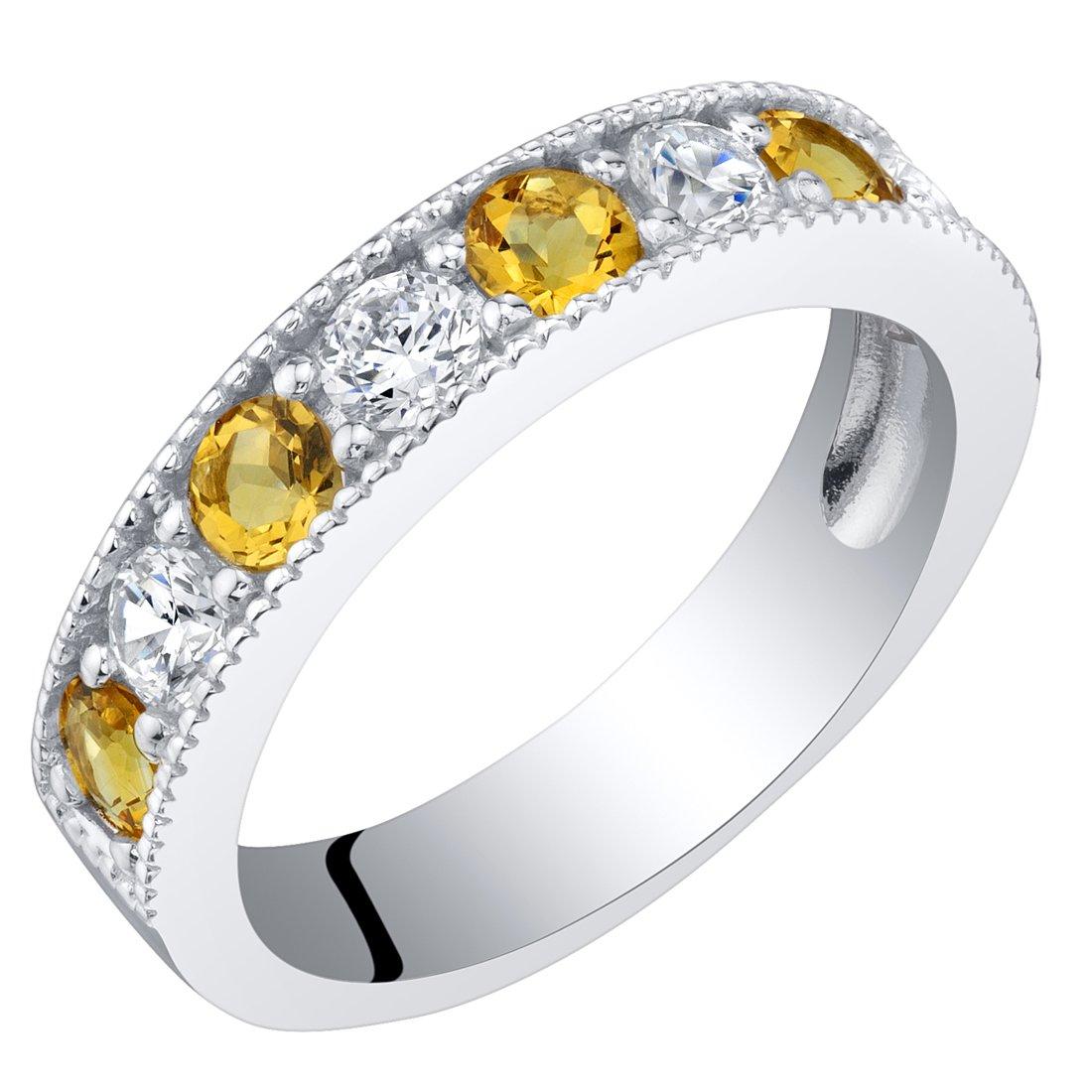 Sterling Silver Citrine Milgrain Half Eternity Ring Band Size 9