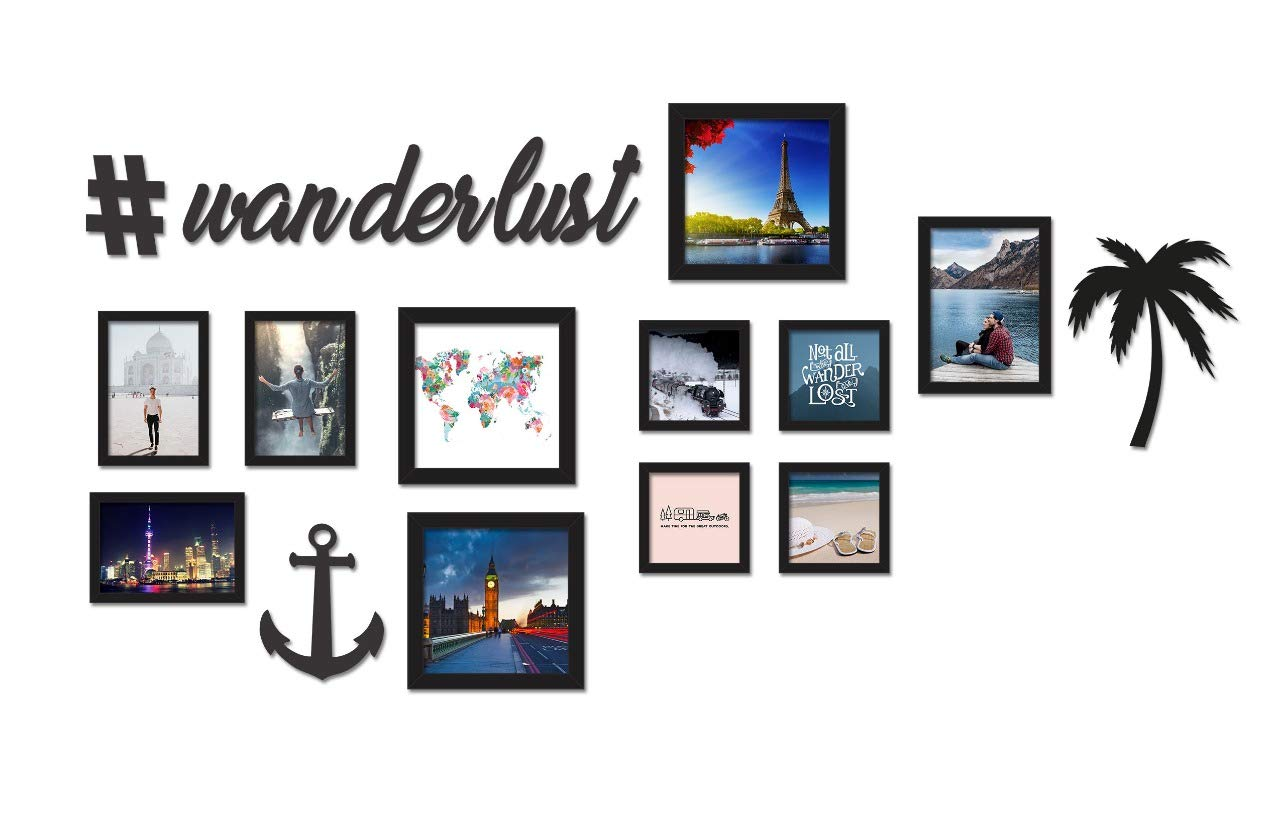 c68483f0736 Buy Paper Plane Design Wanderlust Travel Memories Wall Photo Frame Display ( Black