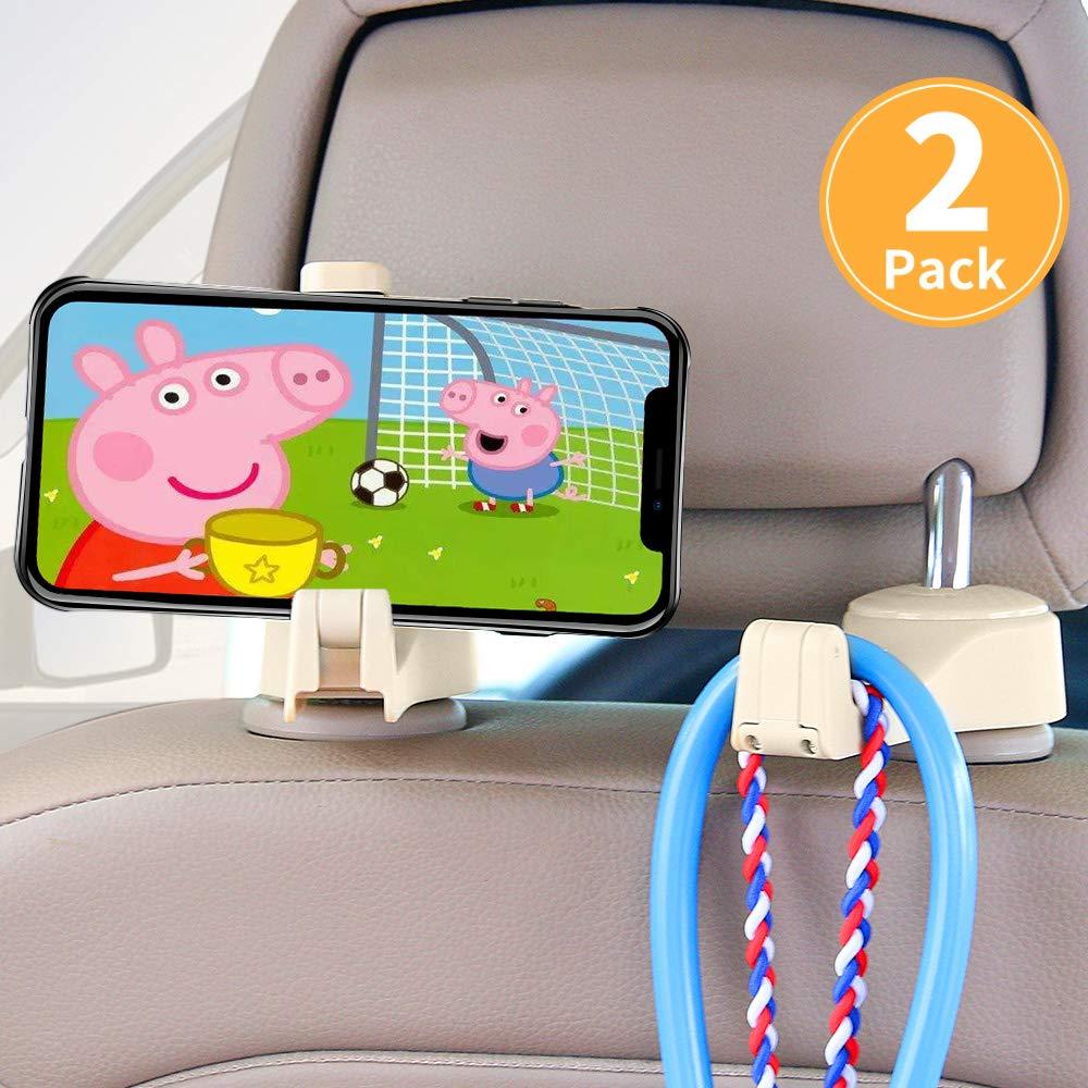 ASANMU Car Headrest Hooks, Vehicle Universal car Back Seat Headrest Hook Hanger with Cellphone Holder for Hanging Bag, Purse, Cloth, Grocery (4 Pack Black)