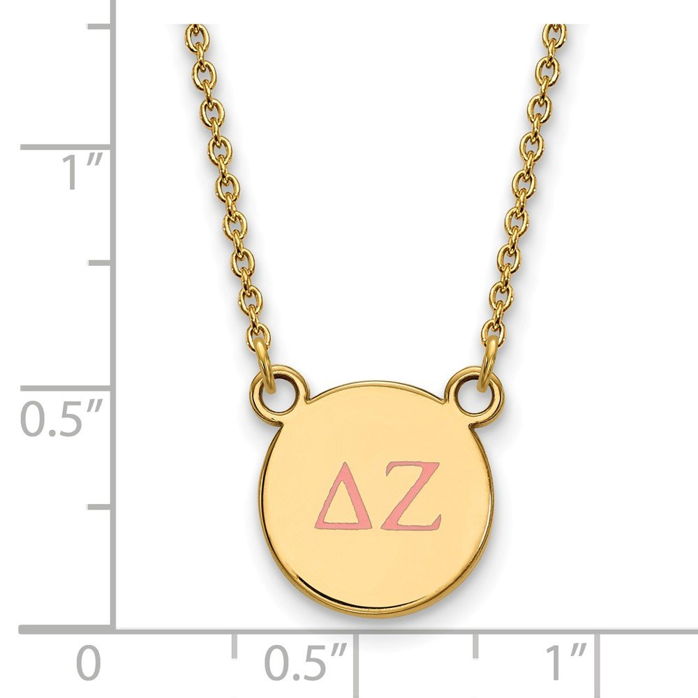 12mm Solid 925 Sterling Silver with Gold-Toned Delta Zeta Extra Small Enl Pendant with Necklace