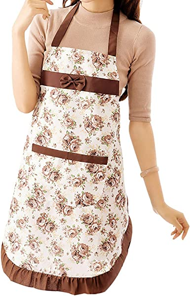 Women Printed Waterproof Kitchen Cooking Pocket Dress Apron Home FA