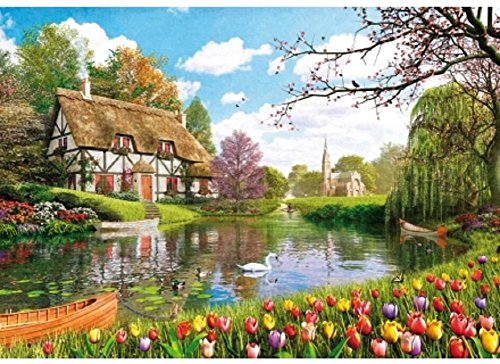 Wentworth Lakeside Cottage 500 Piece Dominic Davison Wooden Jigsaw Puzzle