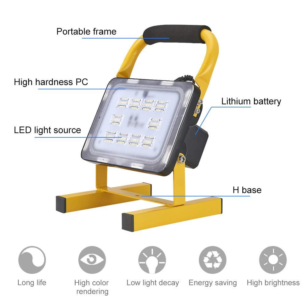 batteria ricaricabile incorporata. 10 luci di lavoro rotanti a 90 gradi impermeabili IP65 Luci di lavoro faretti a LED 10W 24LED /& 20W 40LED