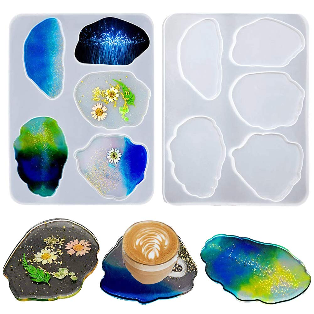 Agate Coaster Resin Moulds Crystal Jewelry Irregular Cup Mat Making Mould Epoxy Casting Clay Silicone Molds for Home Decoration Craft DIY (5 Size)