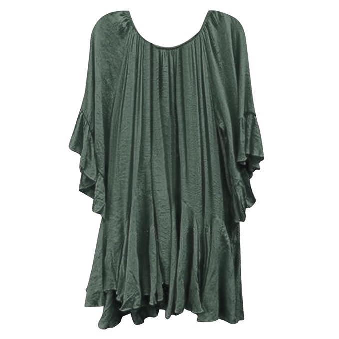 Mujeres Tops Piebo Mujeres Verano Boho Sólido Camisas Volantes Manga de Mariposa Irregular Tops Blusa (
