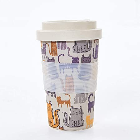 Eco Chic Grey Funky Cat Reusable Bamboo Travel Cup with Gift Box 14oz400ml