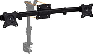 Mount-It! Dual Monitor Wall Mount | Single to Double Horizontal Arm Monitor Converter Adapter Bracket | VESA 75 100 Compatible | Fits 2 x 19 21.5 24 27 Inch Computer Screens