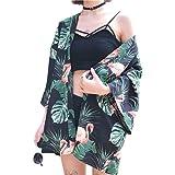 Yalatan Damen Casual Vintage Print Kimono Cardigan Bluse Tops Sonnenschutz Kleidung