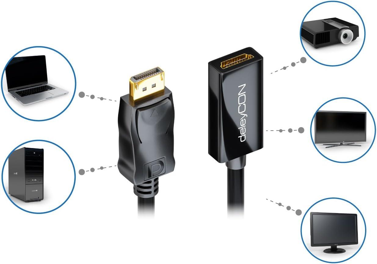 2K Anschluss-Schwarz Formulaone 1 St/ück Dp zu Hdmi 4K Adapter Displayport Revolution Hdmi Buchse Dp zu Hdmi Anschluss 4K