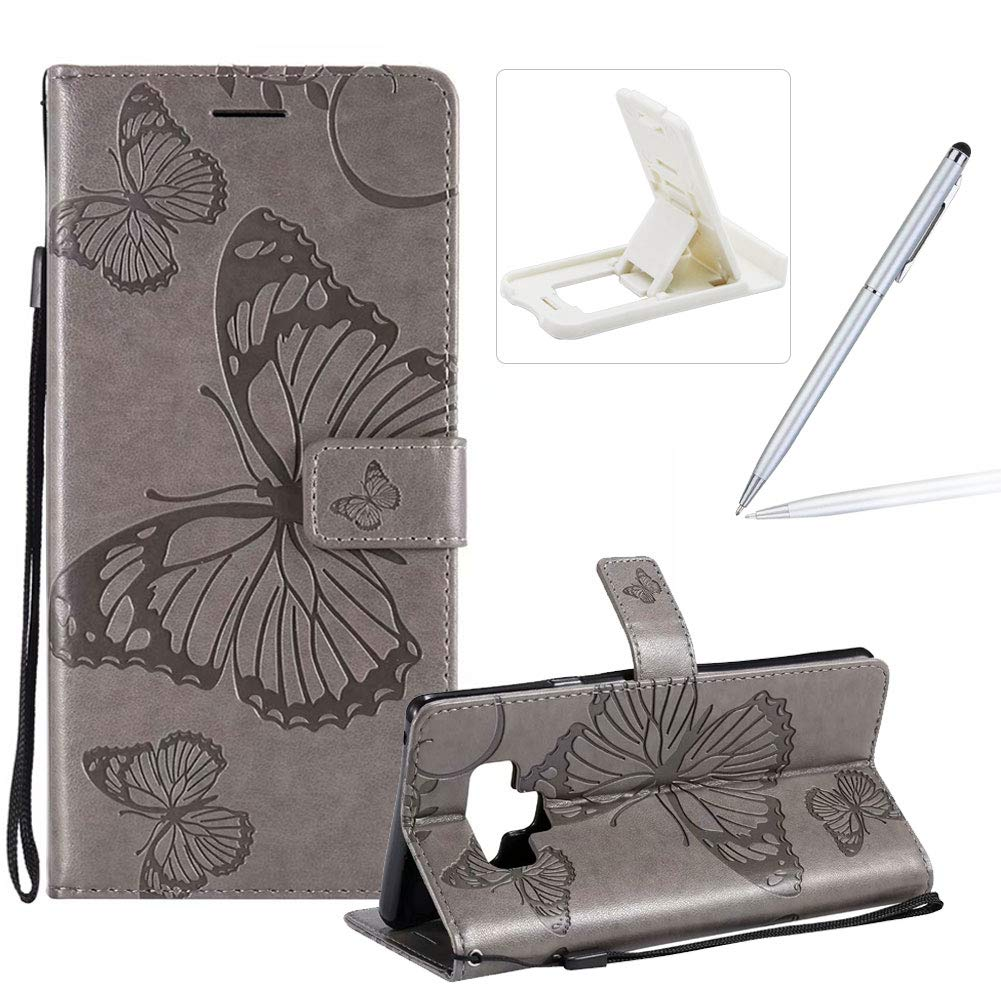 Strap Leather Case for Galaxy Note 9, Wallet Leather Case for Galaxy Note 9, Herzzer Premium Stylish Pretty 3D Purple Butterfly Printed Magnetic Soft Rubber Stand Case with Card Slots