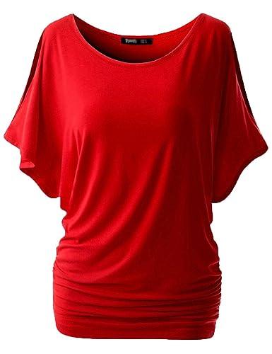 Blusas Camisas Tops Camiseta Túnica del Mangas de Murciélago Cuello Redondo Casional y Cómoda